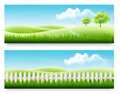 Nature Summer Banners With Green Grass And Blue Sky. Stock Images - 73753674
