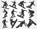 Vector Silhouettes Of Snowboarders Royalty Free Stock Images - 73764319