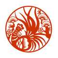 Red Paper Cut A Chicken Rooster In Circle Zodiac Symbols Stock Photos - 73765723