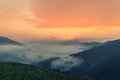 Foggy Mountain Landscape Under Morning Sky. Royalty Free Stock Photos - 73778358