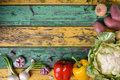 Raw Vegetables. Healthy Vegetarian Cooking Ingredients Over Colorful Table. Organic Food Frame. Top View, Copy Space. Royalty Free Stock Photo - 73783665