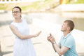 A Woman Refusing Her Boyfriend To Marry After Being Proposed Stock Photography - 73790022