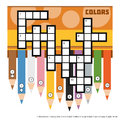 Vector Color Crossword With Colored Pencils Royalty Free Stock Photos - 73796498