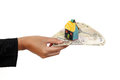 Hand Holding Indian Currency With House Key Stock Photography - 73796582