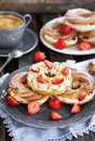 Cream Puff Rings Decorated With Fresh Strawberry And Caramel Sau Royalty Free Stock Image - 73802066