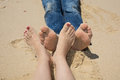 Happy Feet On The Beach Touching Together, Loving Foot Stock Image - 73814761