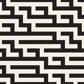 Vector Seamless Black And White Geometric Maze Lines Pattern Royalty Free Stock Photography - 73824897