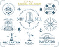 Vintage Nautical Stamps Set. Old Ship Retro Style. Sailing Labels, Emblems Illustration. Nautical Graphic Symbols - Rope Royalty Free Stock Image - 73841976
