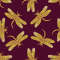 Seamless Vector Pattern With Golden Shiny Dragonfly Royalty Free Stock Photography - 73845497