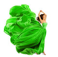 Woman Fashion Dress, Silk Fabric Cloth Fly Wave Over White Stock Images - 73847174