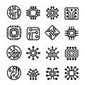 Computer Chips And Electronic Circuit Icons Set Stock Photos - 73847893