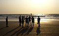 A Group Of Friends Silhouetted At Arambol Beach, North Goa Royalty Free Stock Images - 73861499