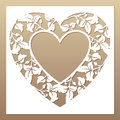 Openwork White Frame With Heart And Leaves. Stock Photo - 73861690