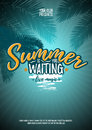 Summer Is Waiting You. Party Poster With Palm Leaf And Lettering. Vector Illustration EPS10 Royalty Free Stock Photography - 73865537