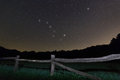 Old Fence. Starry Night Polaris Star, Ursa Major,Big Dipper Constellation Beautiful Night Sky. Royalty Free Stock Images - 73868319