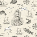 Seamless Background With Lighthouse, Fish, Gulls And Boats Royalty Free Stock Images - 73881629