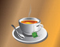 Hot Tea Cup With Silver Spoon Stock Photo - 73892250