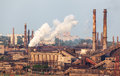Steel Factory With Smokestacks At Sunset Royalty Free Stock Image - 73900906