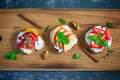 Bruschetta With Peaches, Plums, Strawberries And Cottage Cheese. Royalty Free Stock Photos - 73915928