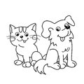 Coloring Page Outline Of Cartoon Cat With Dog. Pets. Coloring Book For Kids Royalty Free Stock Image - 73927606