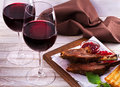 Red Wine Glasses. Rack Of Lamb With Pomegranate Sauce And Greens. Royalty Free Stock Images - 73929639