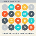 Office 2 Icon Set. Multicolored Flat Buttons Royalty Free Stock Photography - 73930157