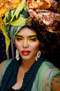 Beauty Bright Woman With Creative Make Up, Many Shawls On Head Like Cubian, Ethno Look Closeup Stock Images - 73944854