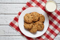 Traditional Oatmeal Cookies Healthy Sweet Dessert Food With Milk Royalty Free Stock Images - 73945479