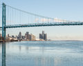 Ambassador Bridge Reflection In An Icy Detroit River Stock Photos - 73950513