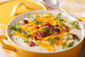 Potato Puree Soup With Bacon And Cheddar Close-up In A Pan. Hori Royalty Free Stock Photos - 73969478