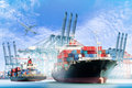 Container Cargo Ship With Ports Crane Bridge In Harbor And Cargo Plane Stock Images - 73972634