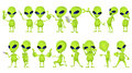 Vector Set Of Funny Green Aliens Illustrations. Stock Images - 73975704