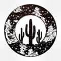 Round Drawing Of A Night Sky Cactus Silhouette. Stock Photography - 73995392