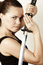 Girl And Katana (Close Up) Royalty Free Stock Image - 7405906