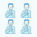 Vector Set Of Illustrations Of The Male Character In Trendy Flat Royalty Free Stock Image - 74005306