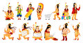 Vector Set Of American Indians Illustrations. Stock Images - 74019604