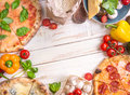 Pizza And Ingredients White Background Stock Photography - 74023132