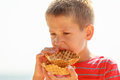 Child With Sweet Food Outdoor. Stock Photo - 74027930