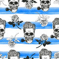 Skulls And Roses Seamless Paper Stock Photos - 74041643