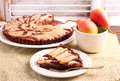 Chocolate And Almond Tart With Pear Royalty Free Stock Photos - 74053018