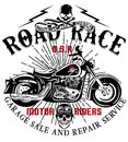Motorcycle Label T-shirt Design With Illustration Of Custom Chop Royalty Free Stock Images - 74056239