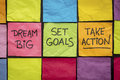Dream Big, Set Goals, Take Action On Sticky Notes Royalty Free Stock Images - 74059729