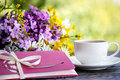 Cup Of Coffee,  Flowers And An Envelope Royalty Free Stock Image - 74064106