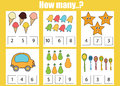 Counting Educational Children Game, Kids Activity. How Many Objects Task Stock Image - 74065881