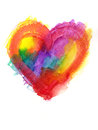 Multicolor Grunge Heart Watercolor Painting Stock Photo - 74066640