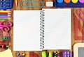 Opened Lined School Notebook With School Supply Frame On Wood Royalty Free Stock Photo - 74077795