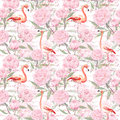 Pink Flamingo, Peony Flowers, Hand Written Text. Seamless Pattern. Watercolor Stock Photo - 74124660