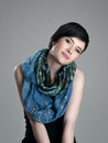 Gorgeous Young Short Hair Brunette Beauty With Slanted Head Wearing Scarf Royalty Free Stock Photography - 74133057