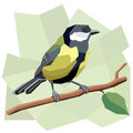Vector Simple Illustration Of Great Tit Bird. Royalty Free Stock Photography - 74134067