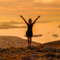 Woman Standing On The Background Of Bay In Dubrovnik. Croatia Royalty Free Stock Photo - 74145055